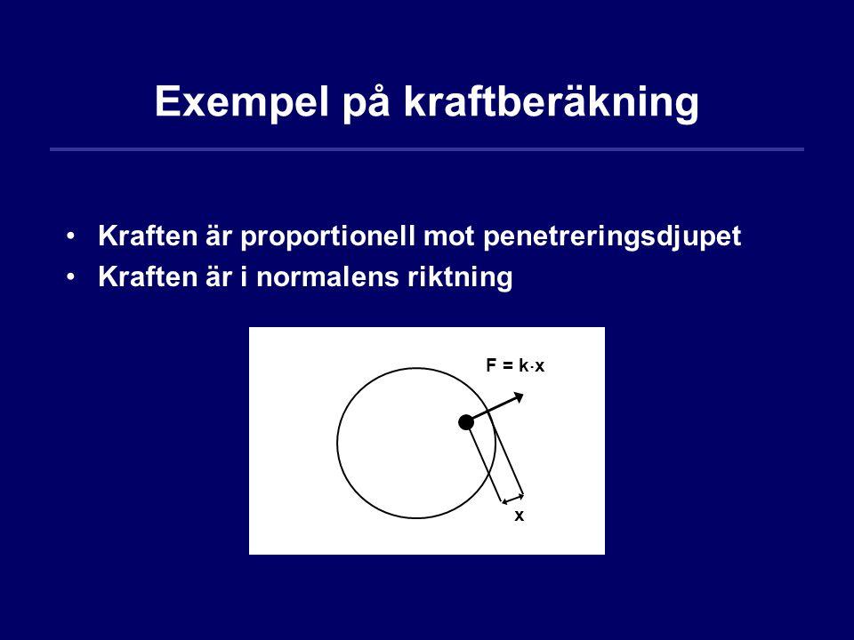 Exempel på kraftberäkning x F = k  x Kraften är proportionell mot penetreringsdjupet Kraften är i normalens riktning