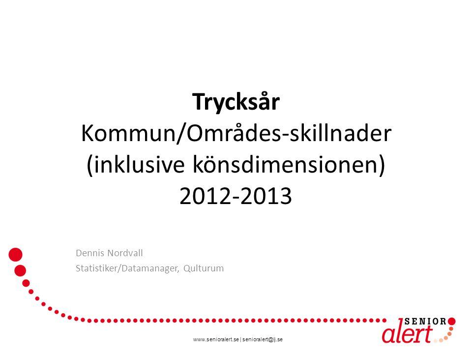 www.senioralert.se | senioralert@lj.se Trycksår Kommun/Områdes-skillnader (inklusive könsdimensionen) 2012-2013 Dennis Nordvall Statistiker/Datamanager, Qulturum