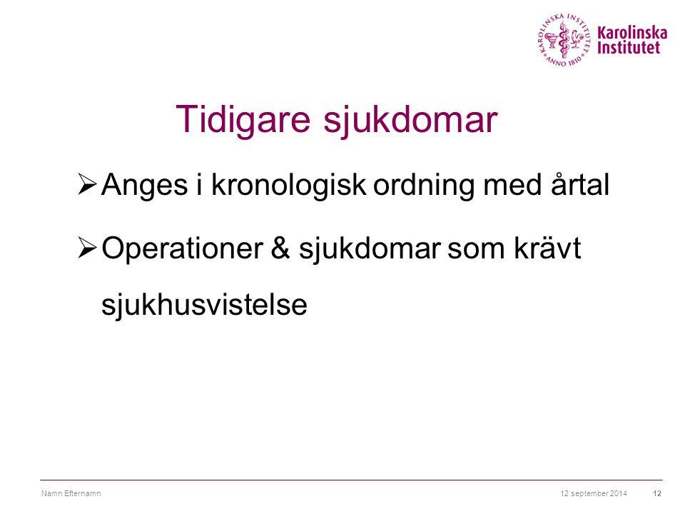 12 september 2014Namn Efternamn12 Tidigare sjukdomar  Anges i kronologisk ordning med årtal  Operationer & sjukdomar som krävt sjukhusvistelse