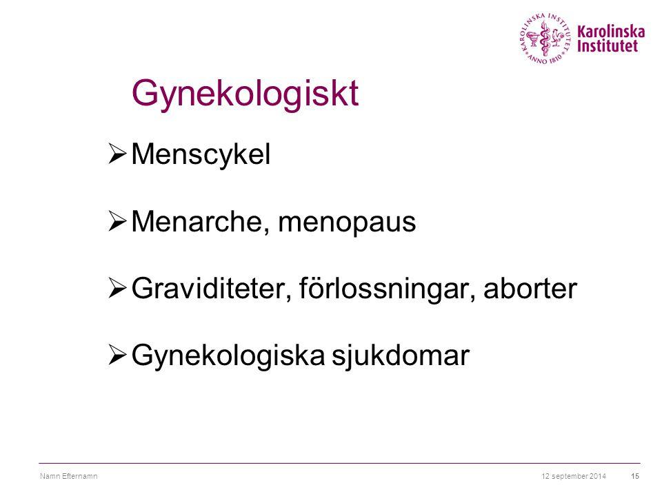 12 september 2014Namn Efternamn15 Gynekologiskt  Menscykel  Menarche, menopaus  Graviditeter, förlossningar, aborter  Gynekologiska sjukdomar