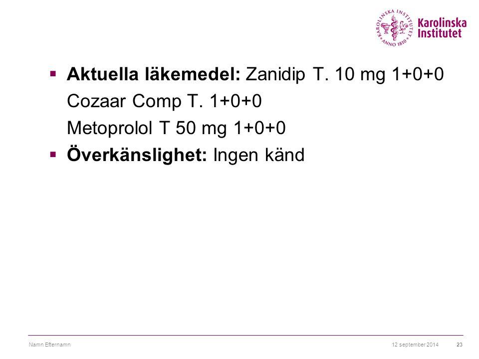 12 september 2014Namn Efternamn23  Aktuella läkemedel: Zanidip T. 10 mg 1+0+0 Cozaar Comp T. 1+0+0 Metoprolol T 50 mg 1+0+0  Överkänslighet: Ingen k
