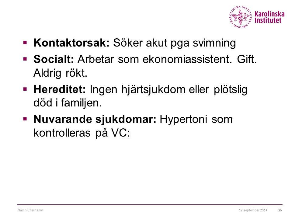 12 september 2014Namn Efternamn25  Kontaktorsak: Söker akut pga svimning  Socialt: Arbetar som ekonomiassistent. Gift. Aldrig rökt.  Hereditet: Ing