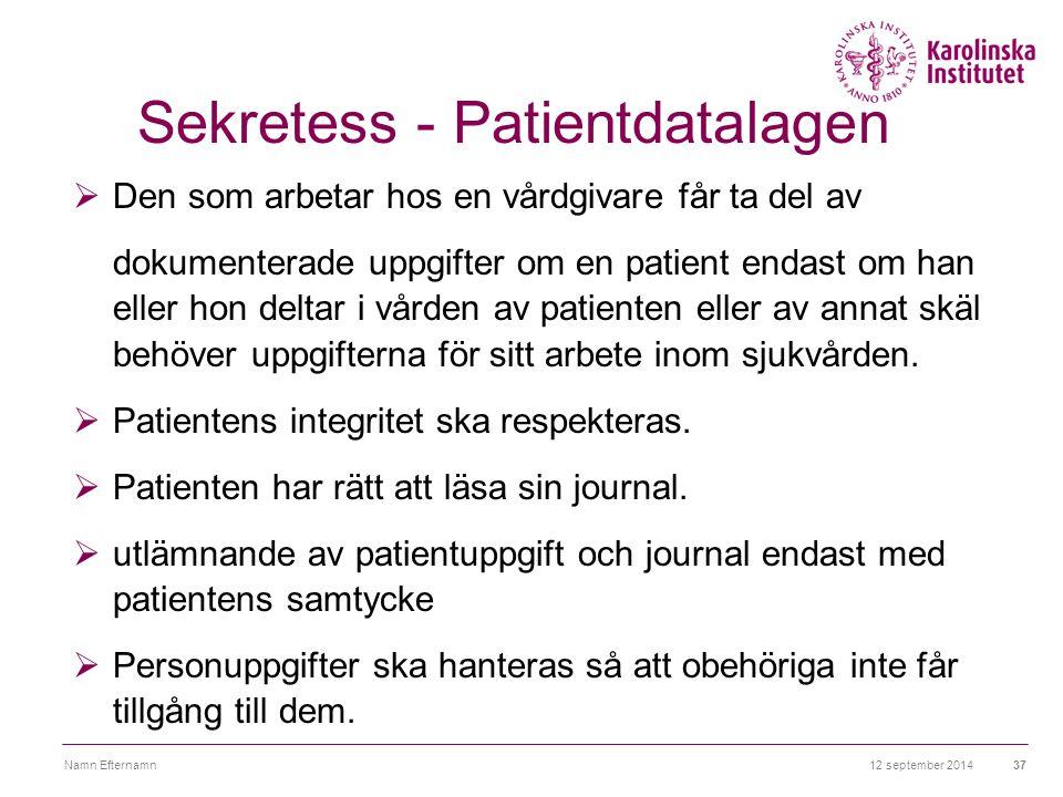 12 september 2014Namn Efternamn37 Sekretess - Patientdatalagen  Den som arbetar hos en vårdgivare får ta del av dokumenterade uppgifter om en patient