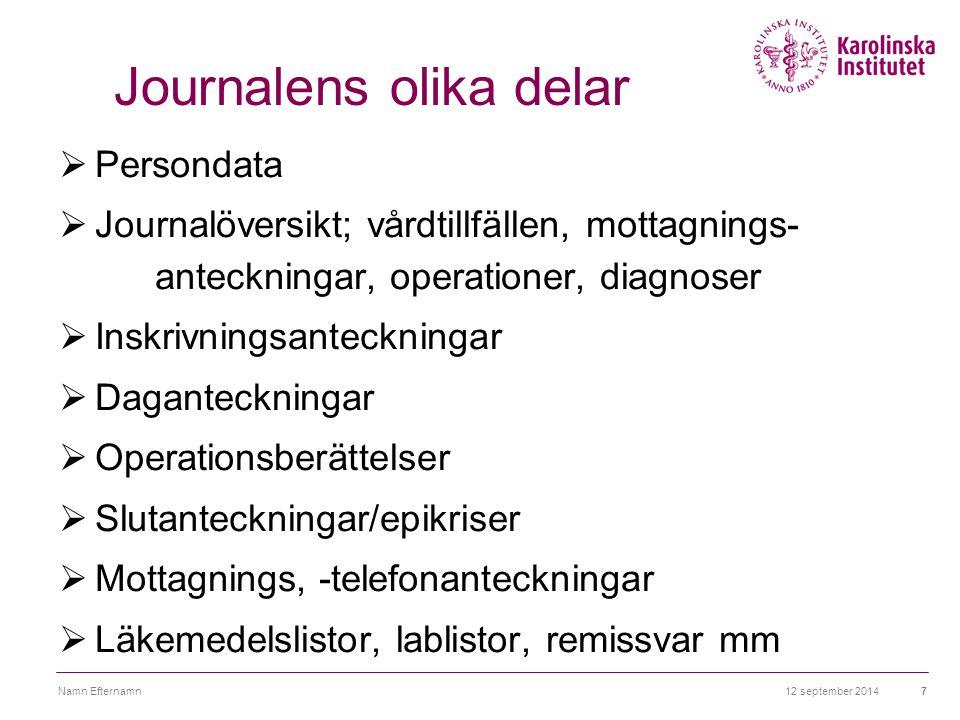 12 september 2014Namn Efternamn7 Journalens olika delar  Persondata  Journalöversikt; vårdtillfällen, mottagnings- anteckningar, operationer, diagno