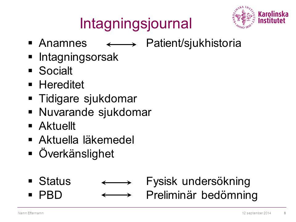 12 september 2014Namn Efternamn8 Intagningsjournal  AnamnesPatient/sjukhistoria  Intagningsorsak  Socialt  Hereditet  Tidigare sjukdomar  Nuvara