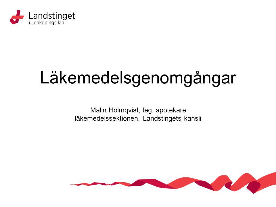Läkemedelsgenomgångar Malin Holmqvist, leg. apotekare läkemedelssektionen, Landstingets kansli