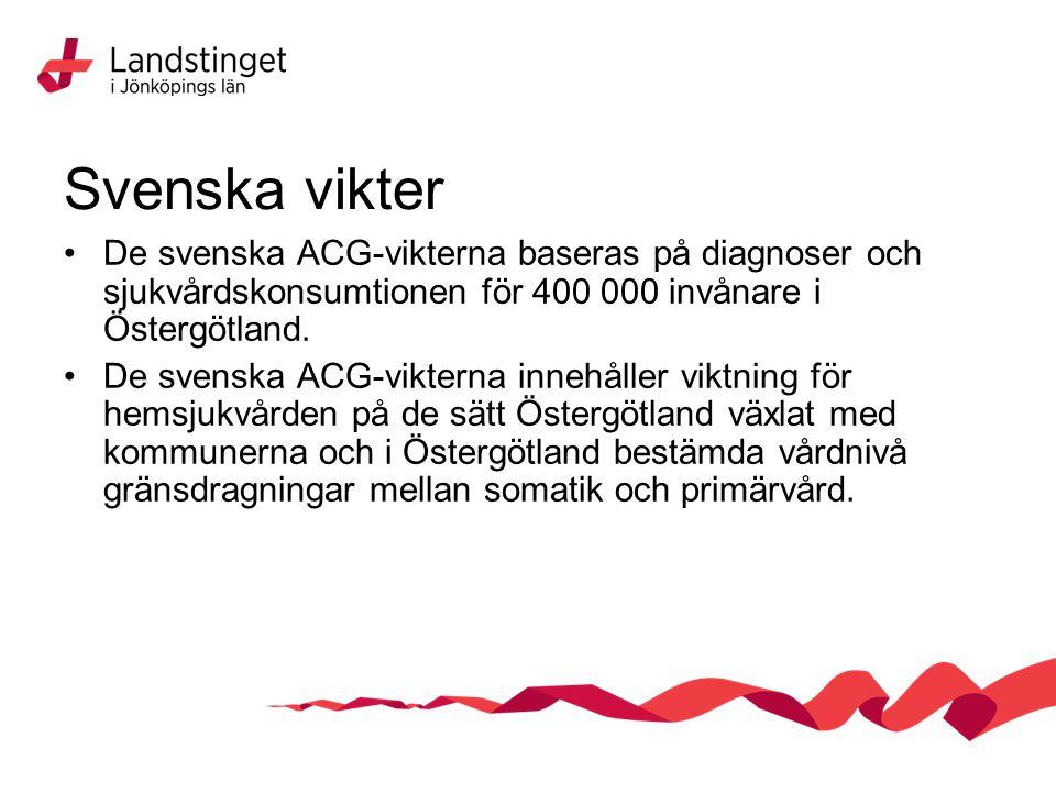 Svenska vikter De svenska ACG-vikterna baseras på diagnoser och sjukvårdskonsumtionen för 400 000 invånare i Östergötland.