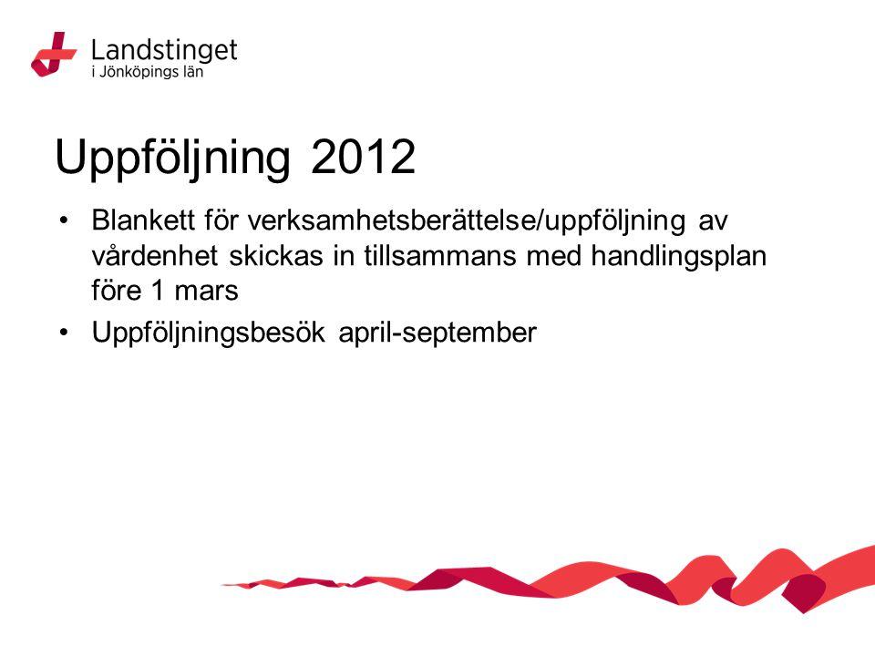 Uppföljning 2012 Blankett för verksamhetsberättelse/uppföljning av vårdenhet skickas in tillsammans med handlingsplan före 1 mars Uppföljningsbesök april-september