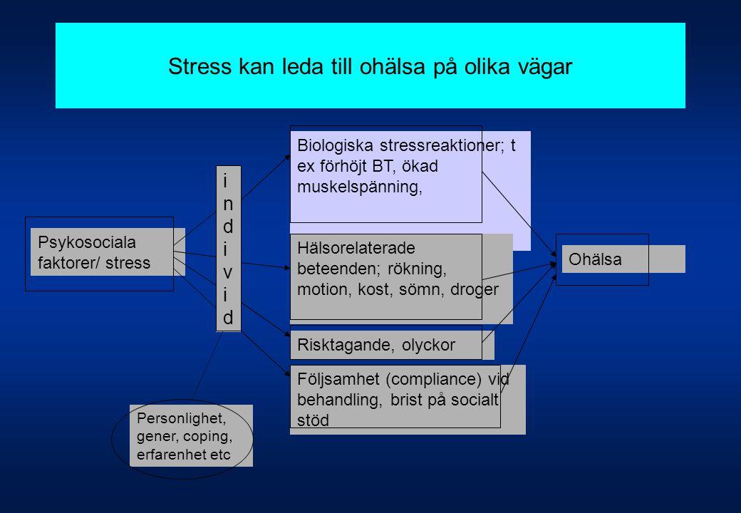 Stress kan leda till ohälsa på olika vägar Psykosociala faktorer/ stress Biologiska stressreaktioner; t ex förhöjt BT, ökad muskelspänning, Hälsorelat