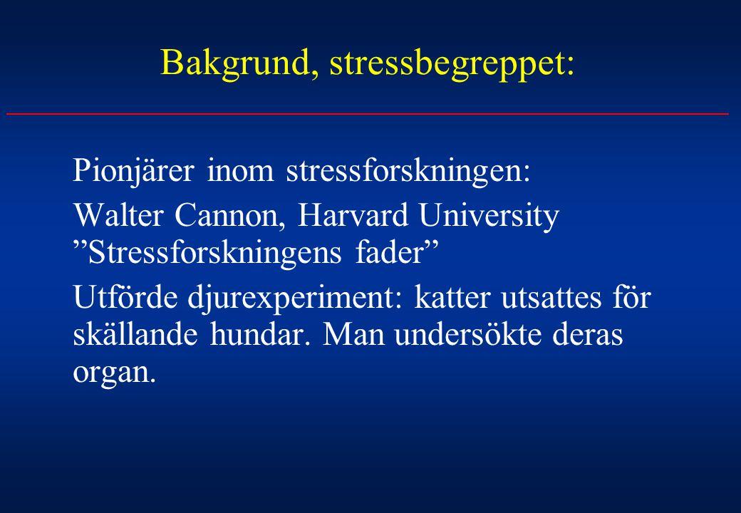 """Bakgrund, stressbegreppet: Pionjärer inom stressforskningen: Walter Cannon, Harvard University """"Stressforskningens fader"""" Utförde djurexperiment: katt"""