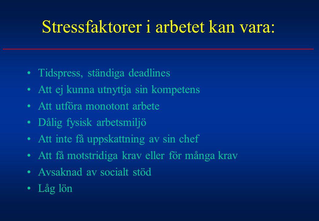 Stressfaktorer i arbetet kan vara: Tidspress, ständiga deadlines Att ej kunna utnyttja sin kompetens Att utföra monotont arbete Dålig fysisk arbetsmil