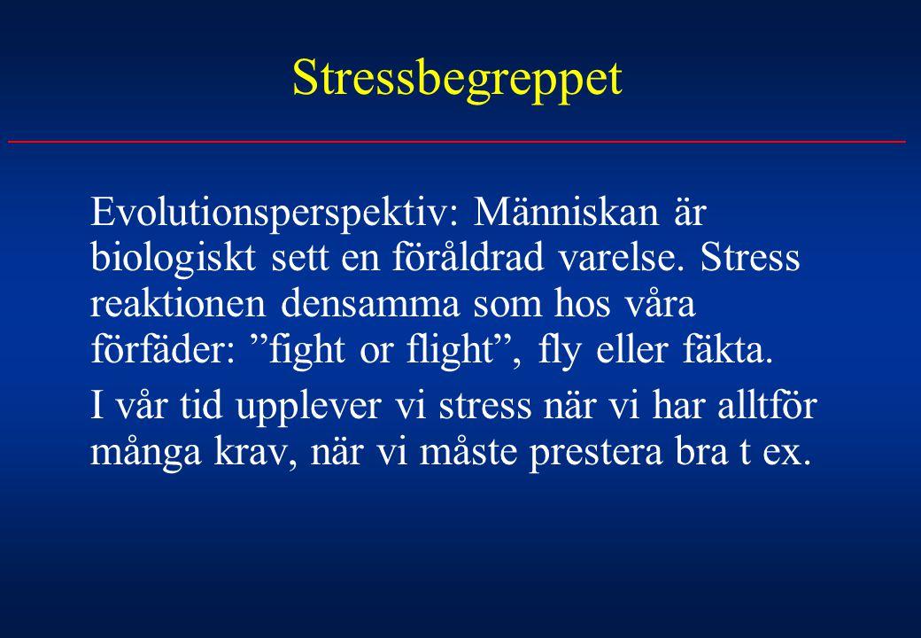 """Stressbegreppet Evolutionsperspektiv: Människan är biologiskt sett en föråldrad varelse. Stress reaktionen densamma som hos våra förfäder: """"fight or f"""