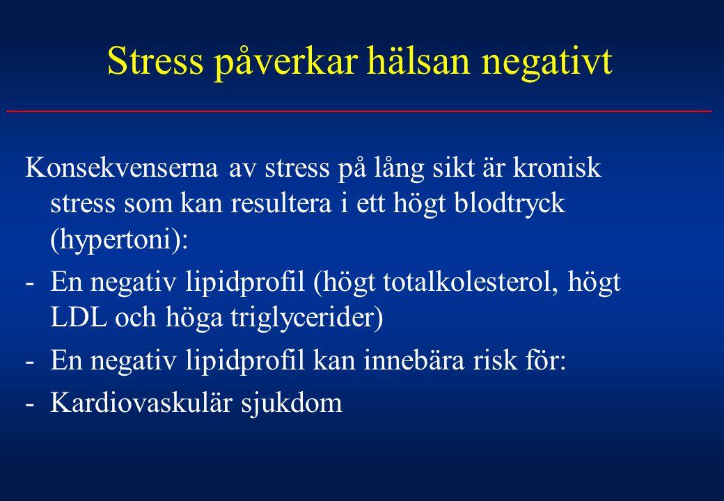 Stress påverkar hälsan negativt Konsekvenserna av stress på lång sikt är kronisk stress som kan resultera i ett högt blodtryck (hypertoni): -En negati