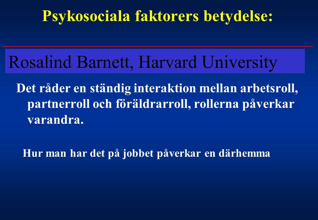 Psykosociala faktorers betydelse: Det råder en ständig interaktion mellan arbetsroll, partnerroll och föräldrarroll, rollerna påverkar varandra. Hur m