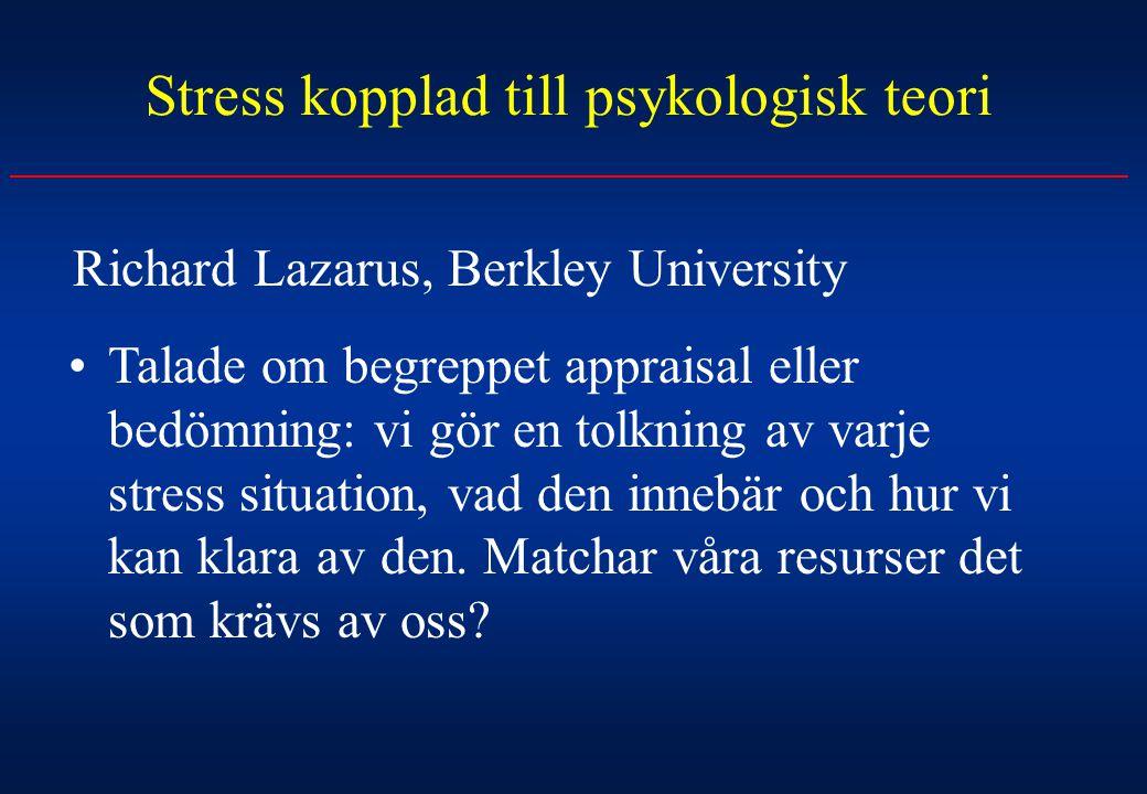 Stress kopplad till psykologisk teori Richard Lazarus, Berkley University Talade om begreppet appraisal eller bedömning: vi gör en tolkning av varje s