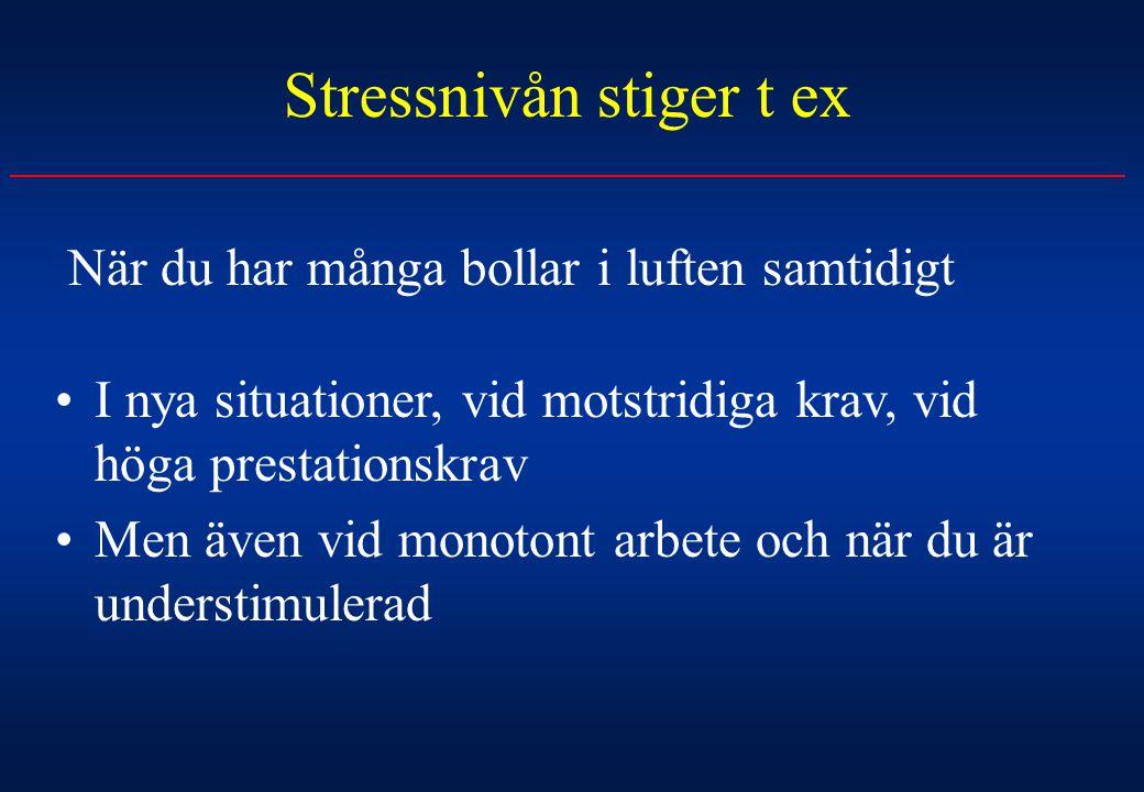 Stressnivån stiger t ex När du har många bollar i luften samtidigt I nya situationer, vid motstridiga krav, vid höga prestationskrav Men även vid mono