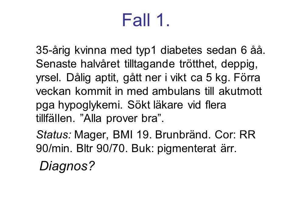 35-årig kvinna med typ1 diabetes sedan 6 åå. Senaste halvåret tilltagande trötthet, deppig, yrsel. Dålig aptit, gått ner i vikt ca 5 kg. Förra veckan