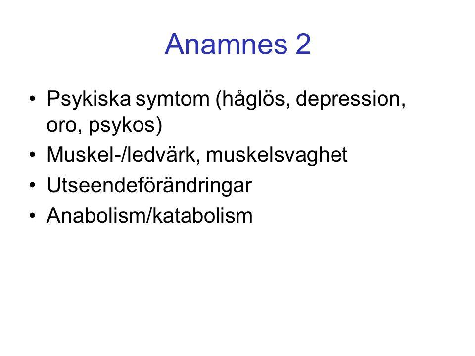 Psykiska symtom (håglös, depression, oro, psykos) Muskel-/ledvärk, muskelsvaghet Utseendeförändringar Anabolism/katabolism Anamnes 2