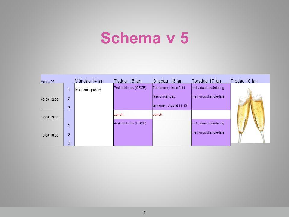 Schema v 5 17 Vecka 03 Måndag 14 janTisdag 15 janOnsdag 16 janTorsdag 17 janFredag 18 jan 1Inläsningsdag Praktiskt prov (OSCE)Tentamen, Linne 9-11Indi