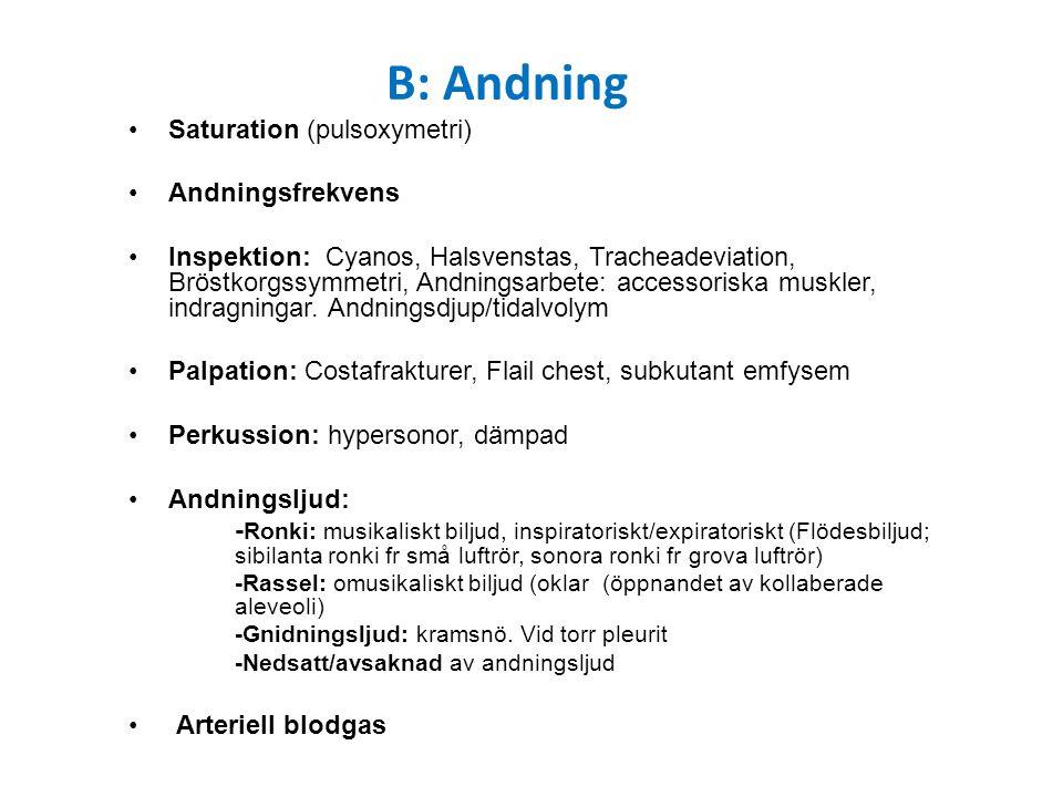 Saturation (pulsoxymetri) Andningsfrekvens Inspektion: Cyanos, Halsvenstas, Tracheadeviation, Bröstkorgssymmetri, Andningsarbete: accessoriska muskler