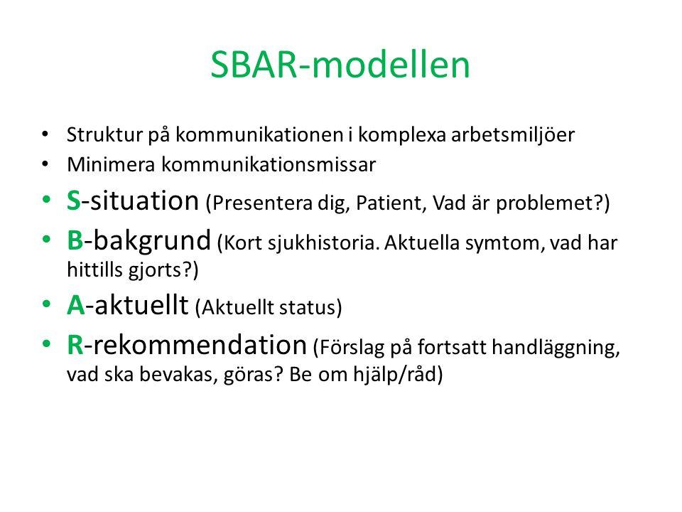 SBAR-modellen Struktur på kommunikationen i komplexa arbetsmiljöer Minimera kommunikationsmissar S-situation (Presentera dig, Patient, Vad är probleme