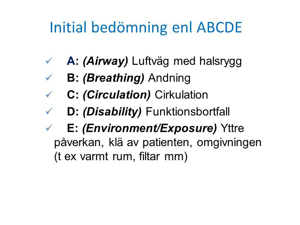 A: (Airway) Luftväg med halsrygg B: (Breathing) Andning C: (Circulation) Cirkulation D: (Disability) Funktionsbortfall E: (Environment/Exposure) Yttre
