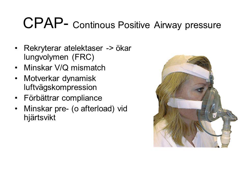CPAP- Continous Positive Airway pressure Rekryterar atelektaser -> ökar lungvolymen (FRC) Minskar V/Q mismatch Motverkar dynamisk luftvägskompression