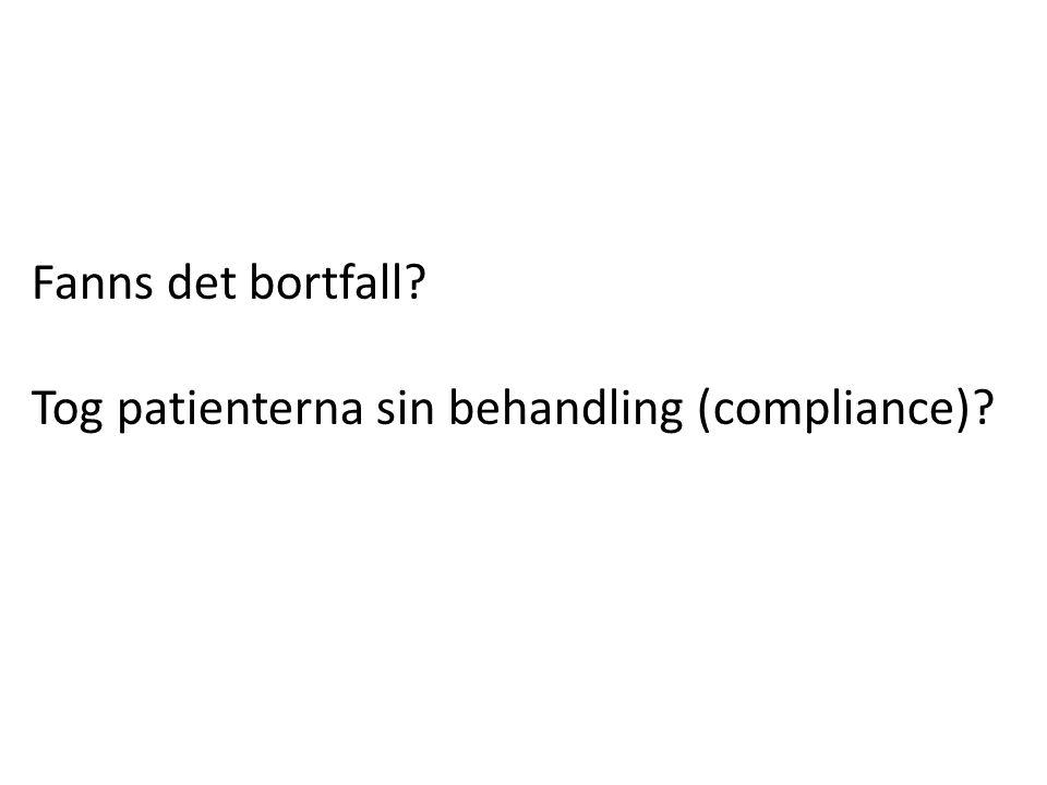Fanns det bortfall? Tog patienterna sin behandling (compliance)?