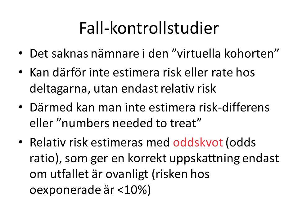 """Fall-kontrollstudier Det saknas nämnare i den """"virtuella kohorten"""" Kan därför inte estimera risk eller rate hos deltagarna, utan endast relativ risk D"""