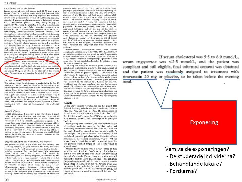 Utfall Exp 0 Utfall Control event rate (CER) = rate (eller risk) i /den oexponerade/ kontrollgruppen