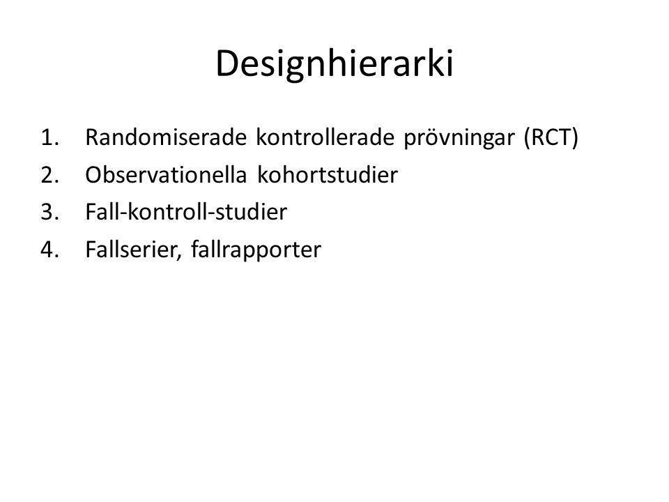 Designhierarki 1.Randomiserade kontrollerade prövningar (RCT) 2.Observationella kohortstudier 3.Fall-kontroll-studier 4.Fallserier, fallrapporter