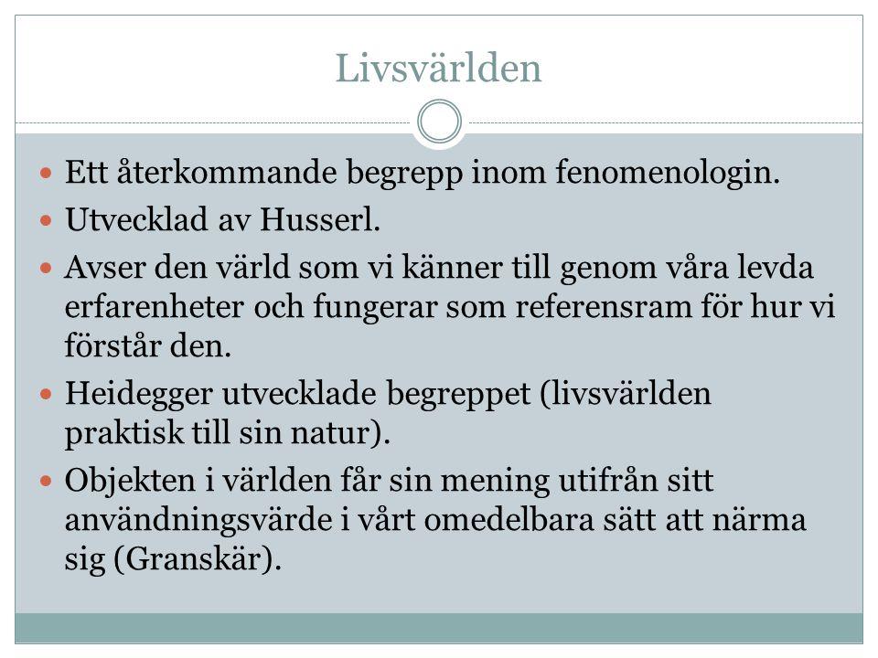 Livsvärlden Ett återkommande begrepp inom fenomenologin. Utvecklad av Husserl. Avser den värld som vi känner till genom våra levda erfarenheter och fu
