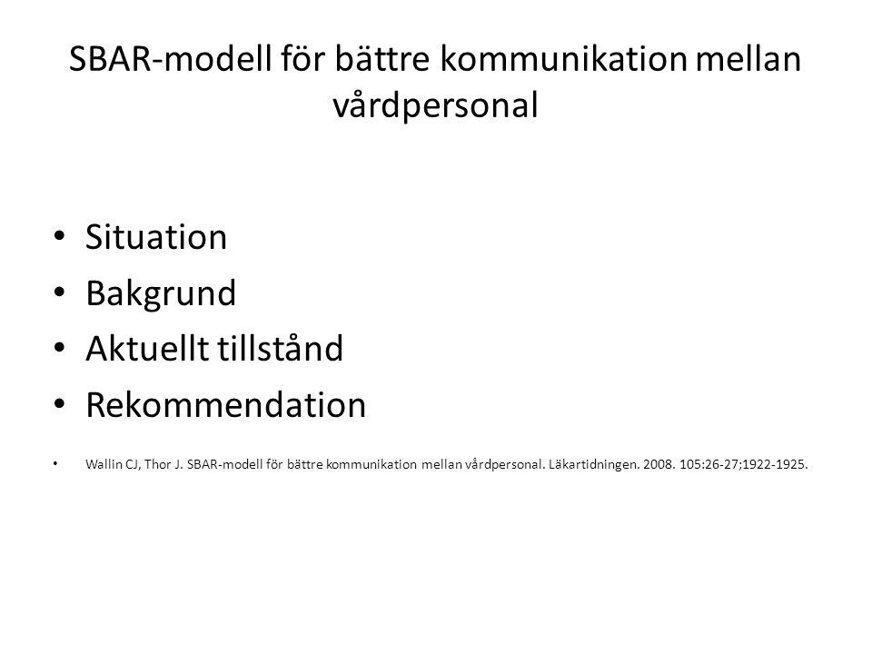 Situation Bakgrund Aktuellt tillstånd Rekommendation Wallin CJ, Thor J. SBAR-modell för bättre kommunikation mellan vårdpersonal. Läkartidningen. 2008