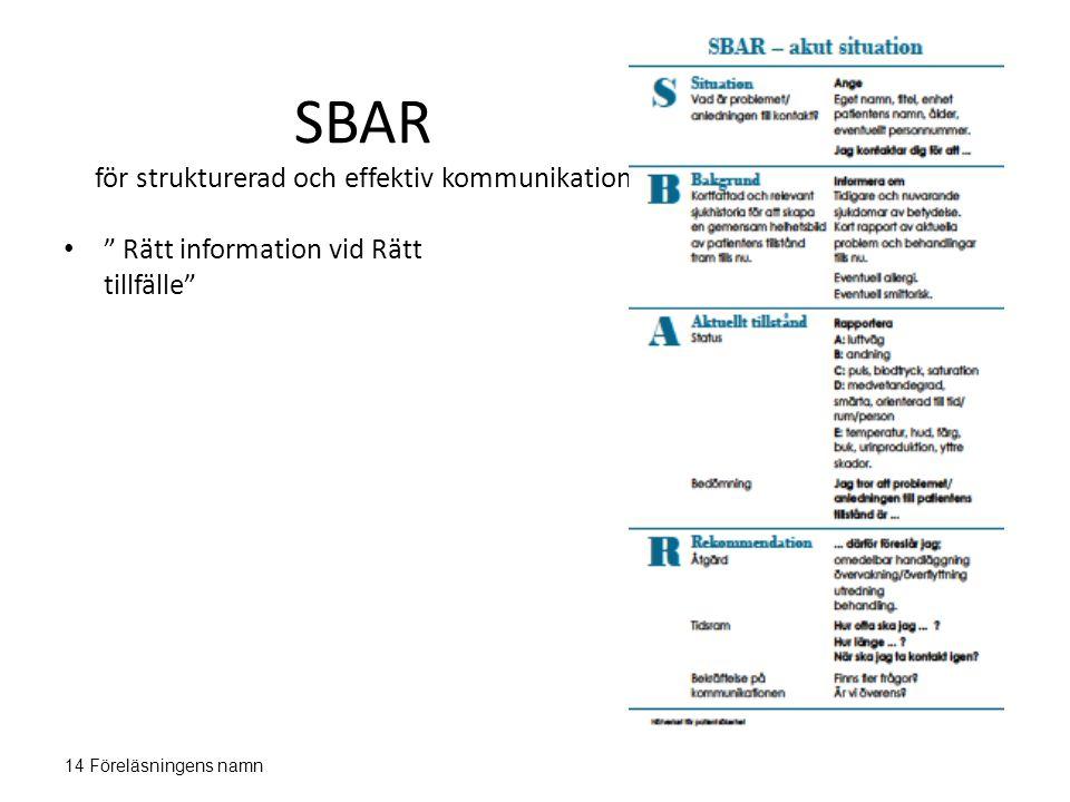 """SBAR för strukturerad och effektiv kommunikation """" Rätt information vid Rätt tillfälle"""" 14 Föreläsningens namn"""