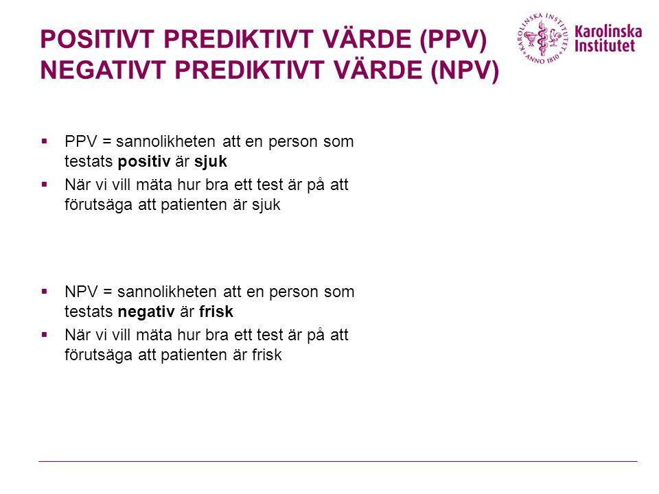 POSITIVT PREDIKTIVT VÄRDE (PPV) NEGATIVT PREDIKTIVT VÄRDE (NPV)  PPV = sannolikheten att en person som testats positiv är sjuk  När vi vill mäta hur bra ett test är på att förutsäga att patienten är sjuk  NPV = sannolikheten att en person som testats negativ är frisk  När vi vill mäta hur bra ett test är på att förutsäga att patienten är frisk