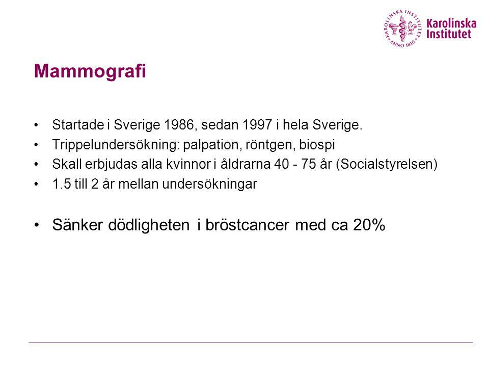 Mammografi Startade i Sverige 1986, sedan 1997 i hela Sverige.