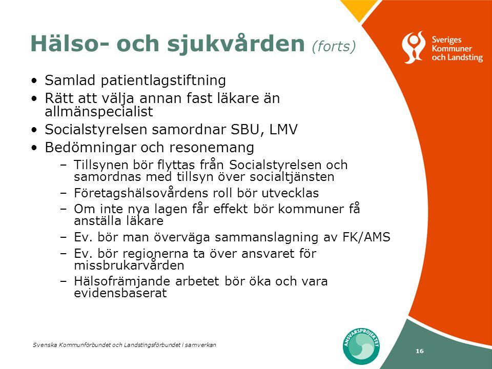 Svenska Kommunförbundet och Landstingsförbundet i samverkan 16 Hälso- och sjukvården (forts) Samlad patientlagstiftning Rätt att välja annan fast läka