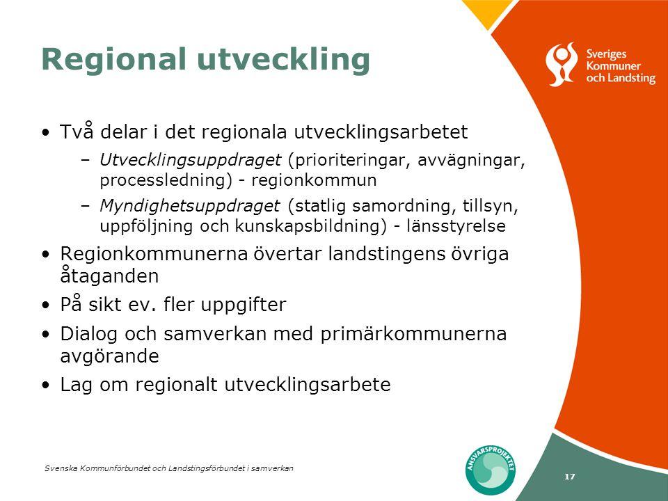 Svenska Kommunförbundet och Landstingsförbundet i samverkan 17 Regional utveckling Två delar i det regionala utvecklingsarbetet –Utvecklingsuppdraget