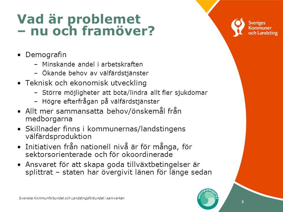 Svenska Kommunförbundet och Landstingsförbundet i samverkan 2 Vad är problemet – nu och framöver? Demografin –Minskande andel i arbetskraften –Ökande