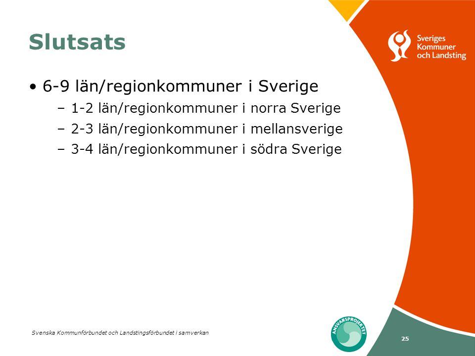 Svenska Kommunförbundet och Landstingsförbundet i samverkan 25 Slutsats 6-9 län/regionkommuner i Sverige –1-2 län/regionkommuner i norra Sverige –2-3