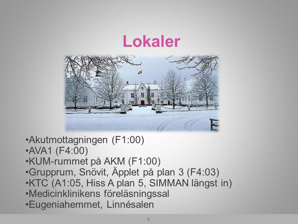 Karta över lokaler 1. Föreläsningssal Medicin A6:04 2. KTC A1:05 3. Eugenia Linné T3:01 4 3 2 1 1