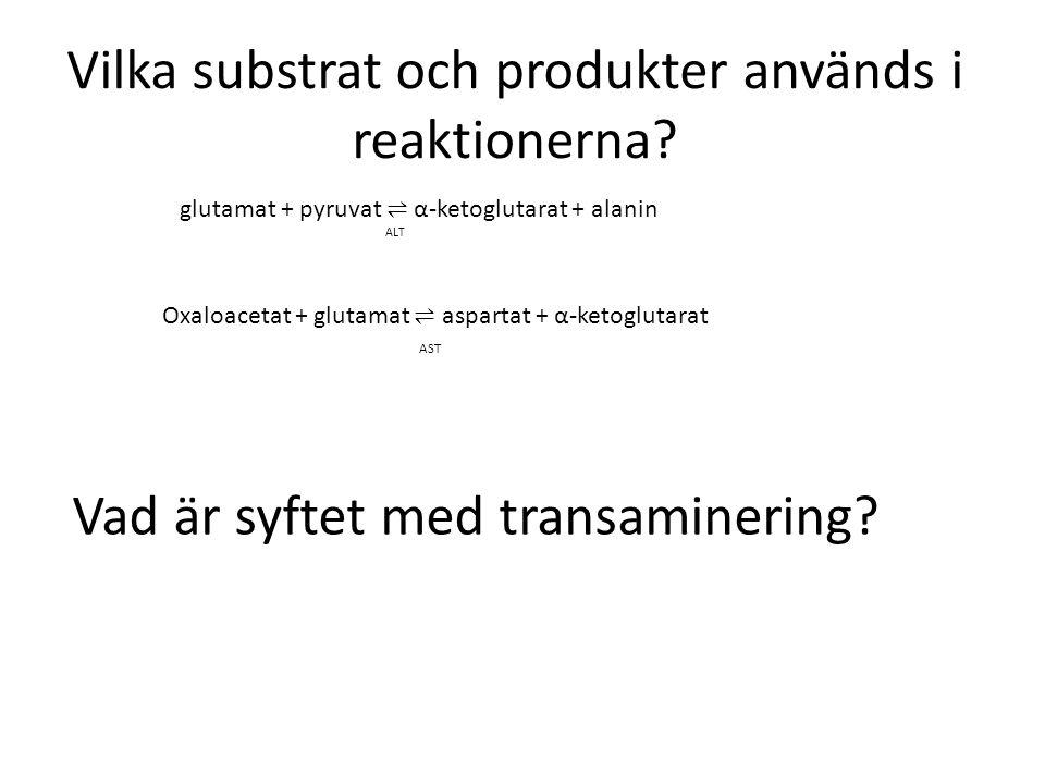 Vilka substrat och produkter används i reaktionerna? Vad är syftet med transaminering? glutamat + pyruvat ⇌ α-ketoglutarat + alanin ALT Oxaloacetat +