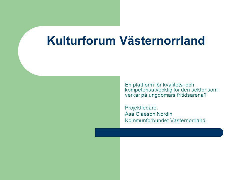 Kulturforum Västernorrland En plattform för kvalitets- och kompetensutvecklig för den sektor som verkar på ungdomars fritidsarena.