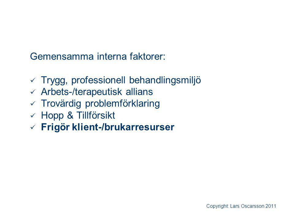 Gemensamma interna faktorer: Trygg, professionell behandlingsmiljö Arbets-/terapeutisk allians Trovärdig problemförklaring Hopp & Tillförsikt Frigör k