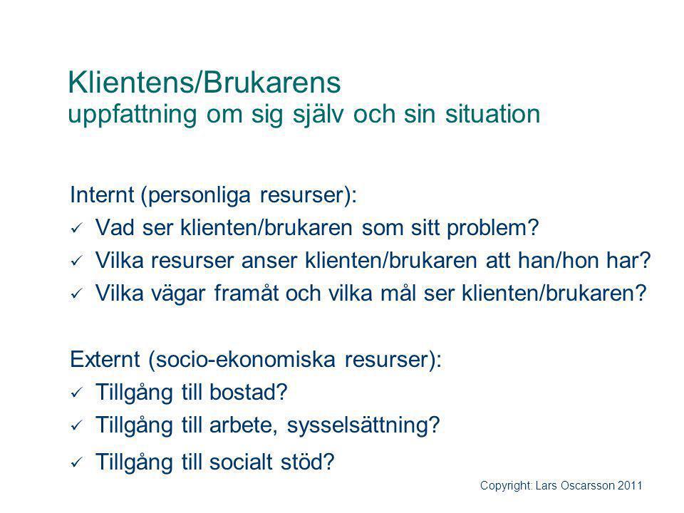 Klientens/Brukarens uppfattning om sig själv och sin situation Internt (personliga resurser): Vad ser klienten/brukaren som sitt problem? Vilka resurs