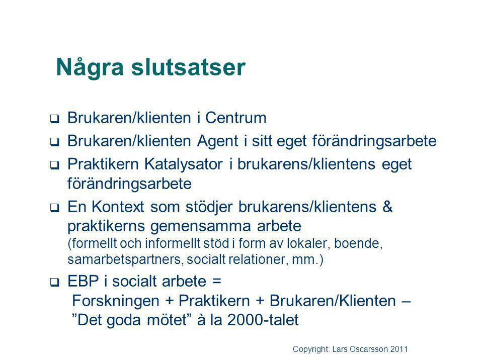 Några slutsatser  Brukaren/klienten i Centrum  Brukaren/klienten Agent i sitt eget förändringsarbete  Praktikern Katalysator i brukarens/klientens