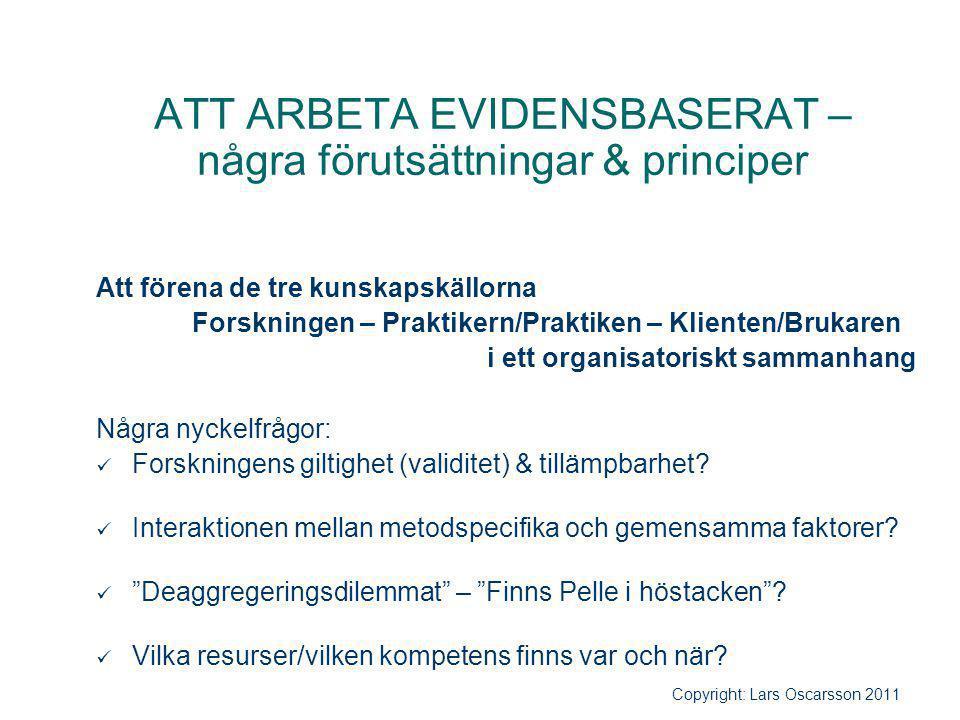ATT ARBETA EVIDENSBASERAT – några förutsättningar & principer Att förena de tre kunskapskällorna Forskningen – Praktikern/Praktiken – Klienten/Brukare
