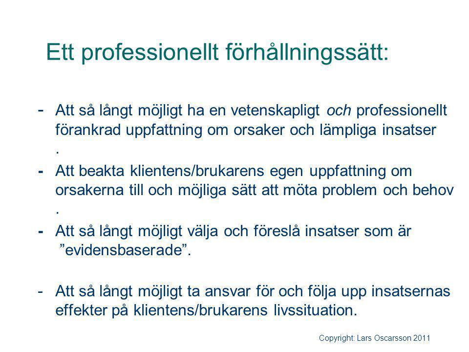 Ett professionellt förhållningssätt: - Att så långt möjligt ha en vetenskapligt och professionellt förankrad uppfattning om orsaker och lämpliga insat