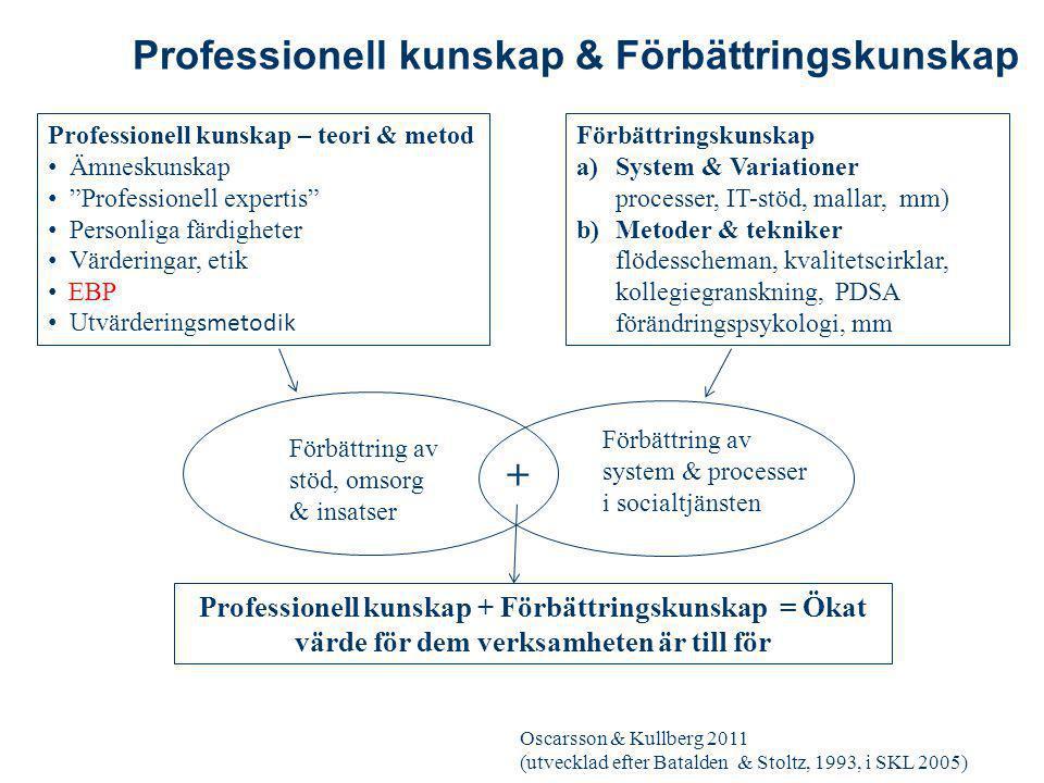 """Professionell kunskap – teori & metod Ämneskunskap """"Professionell expertis"""" Personliga färdigheter Värderingar, etik EBP Utvärdering smetodik Förbättr"""