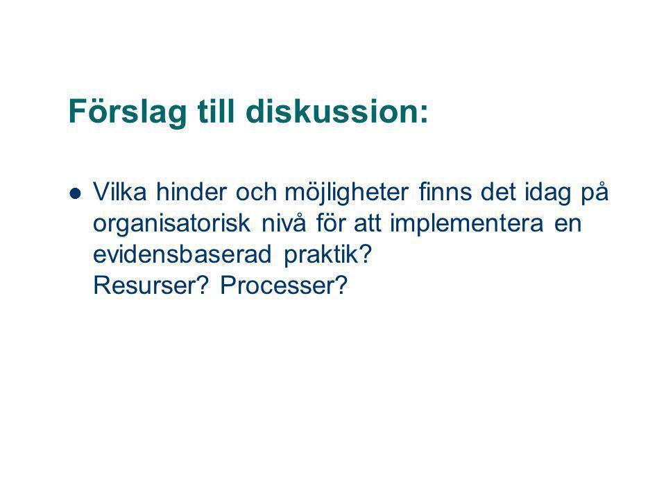 Förslag till diskussion: Vilka hinder och möjligheter finns det idag på organisatorisk nivå för att implementera en evidensbaserad praktik? Resurser?